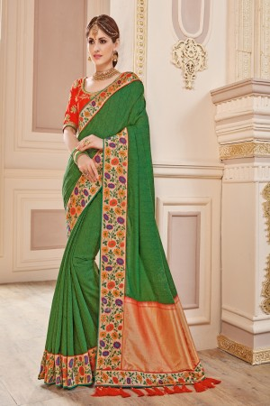Adorable Green Jaquard Embroidered Saree with Blouse piece