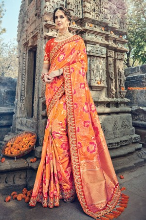 Bedazzling Orange Jaquard Silk Embroidered Saree with Blouse piece