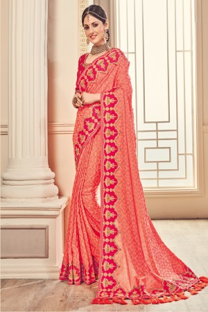 Dashing Pink Jaquard Embroidered Saree with Blouse piece