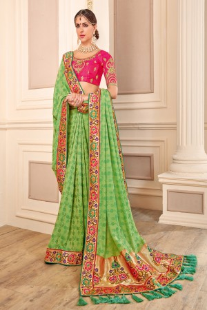 Breezy Green Jaquard Embroidered Saree with Blouse piece