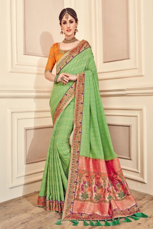 Trendy Green Jaquard Embroidered Saree with Blouse piece