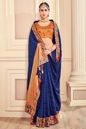 Versatile Blue Jaquard Embroidered Saree with Blouse piece