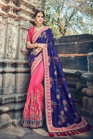 Blue,Pink Jacquard Silk Embroidered Saree