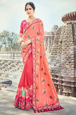 Splendiferous Pink Jaquard Silk Embroidered Saree with Blouse piece