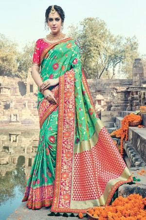 Attractive Green Jaquard Silk Embroidered Saree with Blouse piece