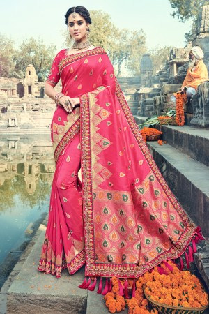 Graceful Pink Jaquard Silk Embroidered Saree with Blouse piece
