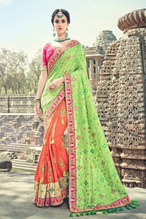 Fabulous Green,Orange Jaquard Silk Embroidered Saree with Blouse piece