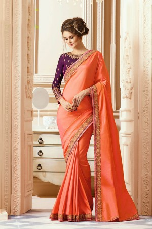 Impressive Orange Silk Heavy Embroidery Blouse with Lace Border Saree