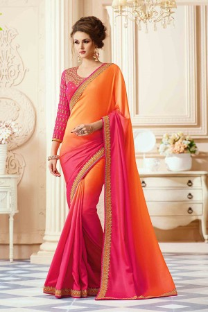 Peppy Orange&Pink Satin Heavy Embroidery Blouse with Lace Border Saree