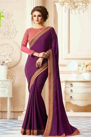 Graceful Wine Silk Heavy Embroidery Blouse with Lace Border Saree