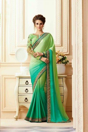 Bewitching Light Green Silk Crape Heavy Embroidery Blouse with Lace Border Saree