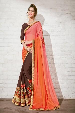 Divine Orange & Brown Georgette Half & Half Embroidery Saree