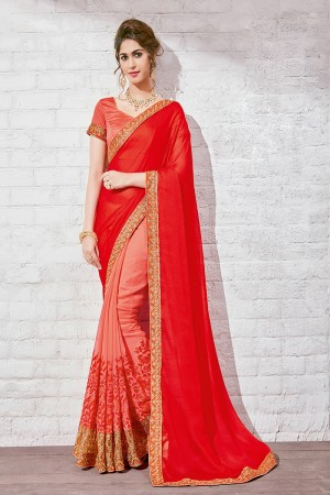 Classy Red & Pink Georgette Half & Half Embroidery Saree