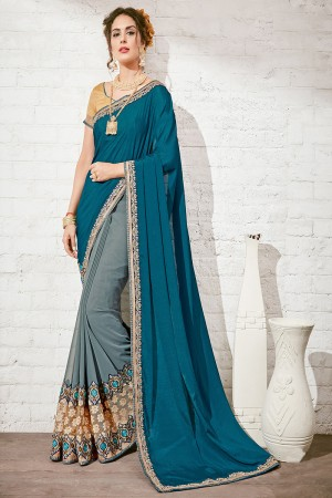 Desirable Blue & Gray Georgette Half & Half Embroidery Saree