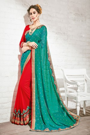 Beguiling Green & Red Georgette Half & Half Embroidery Saree