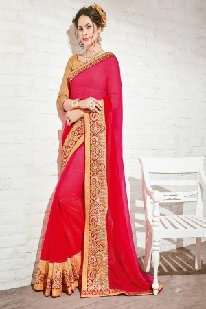 Enriching Red Georgette Half & Half Embroidery Saree