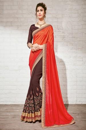 Fantastic Red & Brown Georgette Half & Half Embroidery Saree