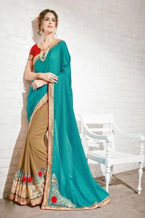 Fantastic Turquoise & Beige Georgette Half & Half Embroidery Saree