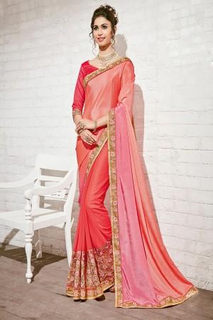 Glamorous Pink & Orange Georgette Half & Half Embroidery Saree