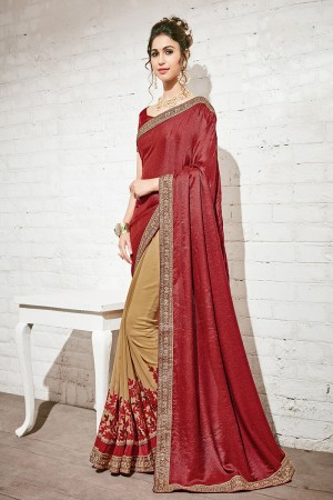 Beauteous Maroon & Beige Georgette Half & Half Embroidery Saree