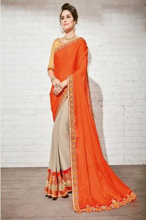 Amiable Orange & Gray Georgette Half & Half Embroidery Saree
