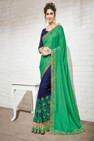 Adorable Green & Blue Georgette Half & Half Embroidery Saree