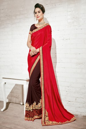 Dashing Red & Brown Georgette Half & Half Embroidery Saree
