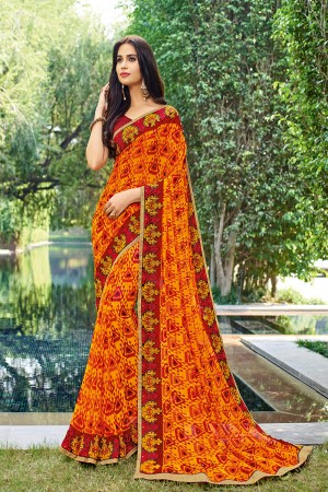 Fantastic Orange Georgette  patch work, floral design Saree