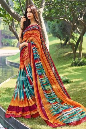 Glossy Multicolor Georgette  floral design Saree