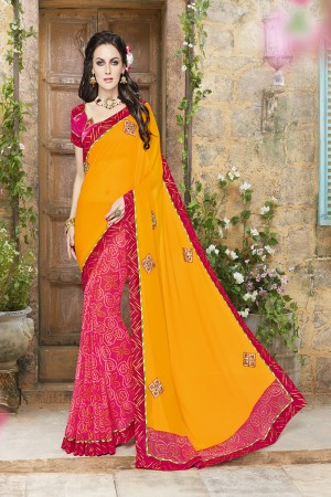 Dreamy Yellow and red Lycra Designer border and Patch work Saree