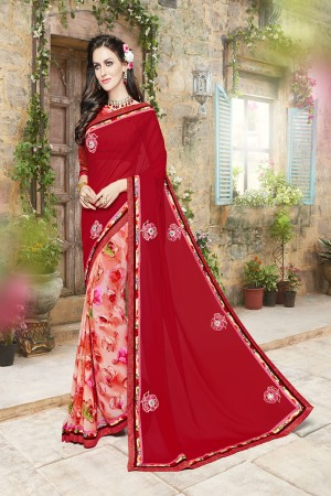 Divine Red and pink Georgette Designer border and Patch work Saree
