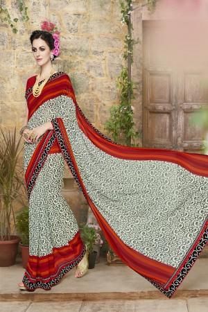 Classic Multicolor Georgette Designer print and lace Saree