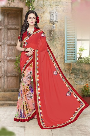 Desirable Pink Georgette Designer border and floral prints, Patch work Saree