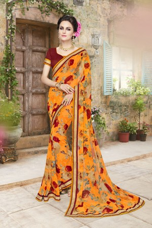 Designer Multicolor Georgette Designer Floral print and lace Border Saree