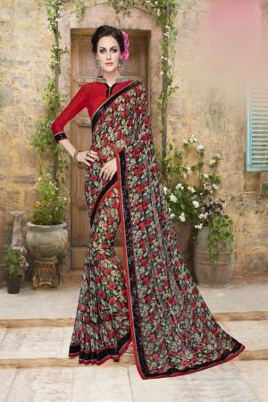 Beguiling Multicolor Georgette Designer Floral print and lace Border Saree