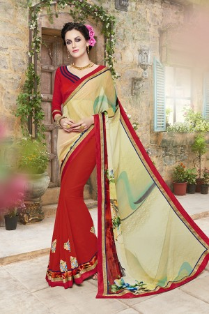 Alluring Multicolor Georgette Designer border and floral prints Patch work Saree