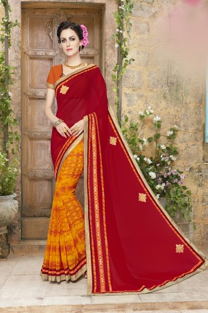Enriching Red and Orange Lycra Designer border and Patch work Saree