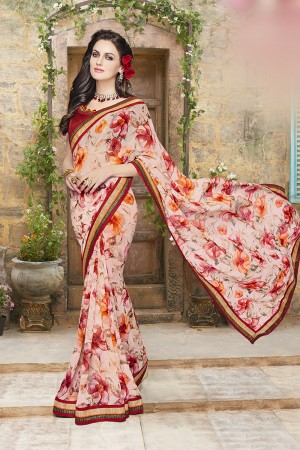 Fantastic Peach Georgette Designer Floral print and lace Border Saree