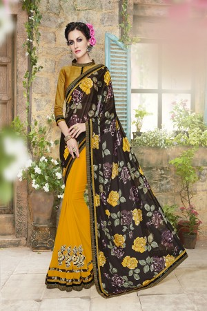 Majestic Black and yellow Lycra Designer border and floral prints Patch work Saree