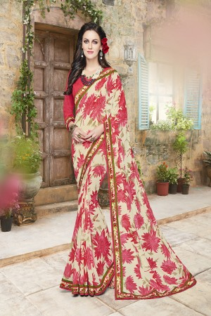 Glossy Pink and off white Georgette Designer Floral print and lace Border Saree