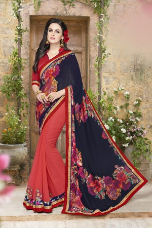 Glamorous black and pink Georgette Designer border and Patch work Saree