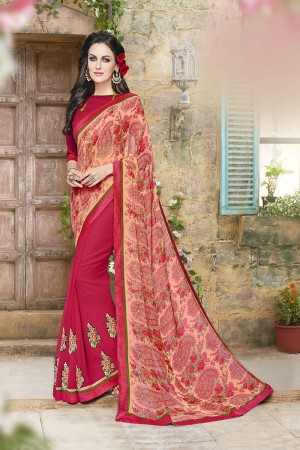 Aesthetic Pink Georgette Designer border and Patch work Saree