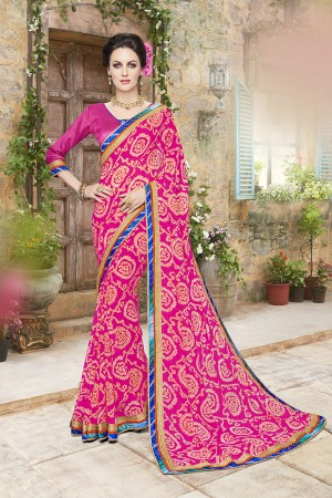 Beauteous Pink Georgette Designer Floral print and lace Border Saree