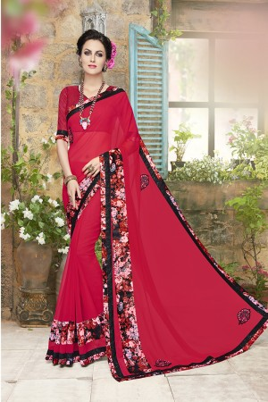 Amiable Red Georgette Designer border and  Patch work Saree