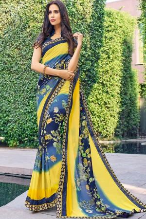 Designer Multicolor Georgette floral design Saree