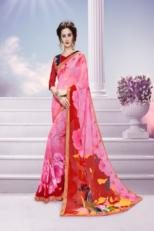 Stupendous Pink Georgette Print with Embroidered Blouse Saree
