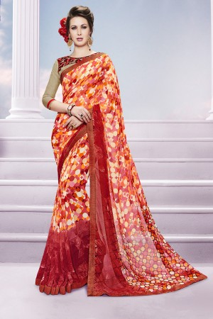 Mind Blowing Orange Georgette Print with Embroidered Blouse Saree