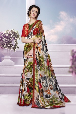 Blissful Multicolor Georgette Print with Embroidered Blouse Saree