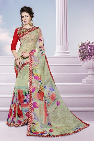 Sparkling Multicolor Georgette Print with Embroidered Blouse Saree