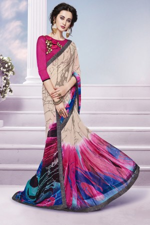 Charismatic Multicolor Georgette Print with Embroidered Blouse Saree